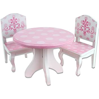 Exceptional 18 Inch Doll Table U0026 Chairs Set, Fits American Girl Doll Bed Rooms And  More, Pink And White Hand Painted Doll Table And Two Doll Chairs Set