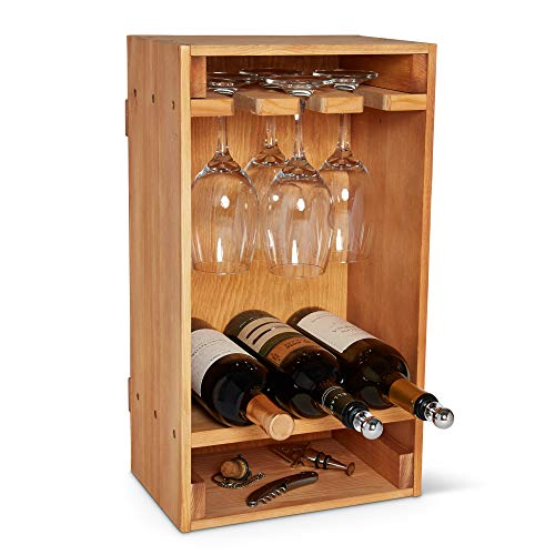 Southern Wayres Wine Rack – Pine – Handcrafted – Bar Cart Accessory – Kitchen Home Decor – Bottle Storage – Extend…