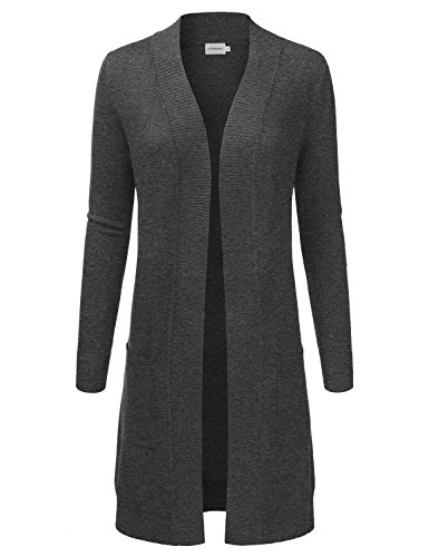 JJ Perfection Womens Light Weight Long Sleeve Open Front Long Cardigan Charcoal S Ribbed Woven Sweater