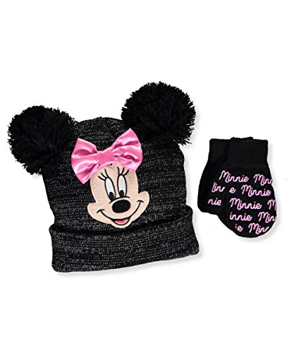 Disney Girls' Minnie Mouse Beanie Hat and Mitten Set – Size Toddler 2-5 [4014]