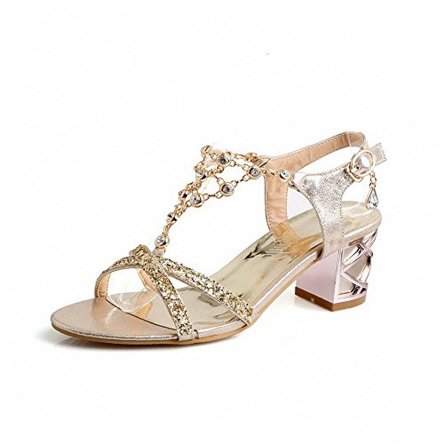 AgooLar Women's Pu Solid Buckle Open-Toe Kitten Heels Sandals Gold BB3fKh3