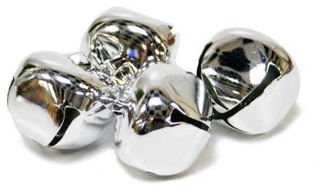 Shiny Metal 30mm Jingle Bells - 144 Silver Bells