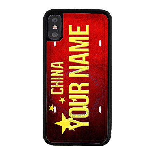 BleuReign(TM) Personalized Custom Name License China Country Flag Plate TPU RUBBER SILICONE Phone Case Back Cover For Apple iPhone X - Of Name Official Hong Kong