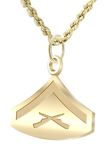 US Jewels And Gems 14k Yellow Gold US Marine Corps Lance Corporal Pendant 2mm Bead Necklace, 24in ()