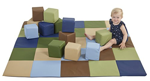 (ECR4Kids SoftZone Patchwork Toddler Play Mat with 12 Soft Blocks, Earthtone)