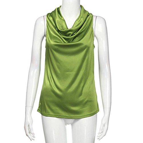Rcool Elegante Verde tinta donna senza in maniche smanicato unita Top da Camicetta f5OxwZf