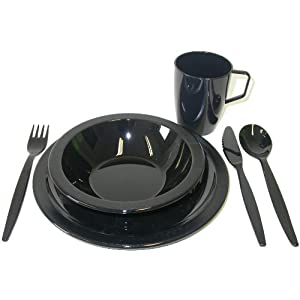 Harfield Black Camping Tableware Set – Plate, Bowl, Beaker and Cutlery Reusable Polycarbonate Plastic