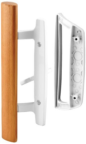 Prime-Line C 1204 Sliding Glass Door Handle Set  Replace Old or Damaged Door Handles Quickly and Easily  White Diecast, Mortise/Hook Style (Fits 3-15/16 Hole Spacing)