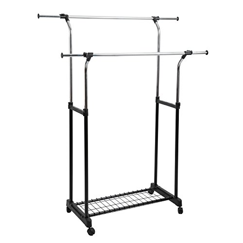 Finnhomy Double Rail Adjustable Rolling Garment Rack with shoe/luggage rack,Metal Hanging Clothes Rack, Free Standing Portable garment rack on Wheels, Thicken Steel Tube Chrome/Black