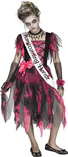 Prom Queen Halloween Outfit (Girls Homecoming Horror Zombie Prom Queen Creepy Halloween Fancy Dress Costume Outfit 7-14 Years (12-14 Years))