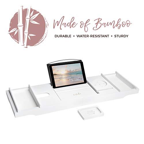 Durable Bath Tub Organizer with Nonslip Bottom /& Extendable Sides Estala Bamboo Bathtub Tray Bathroom Caddy Book Tablet Phone /& Wine Glass Holder and Soap Dish