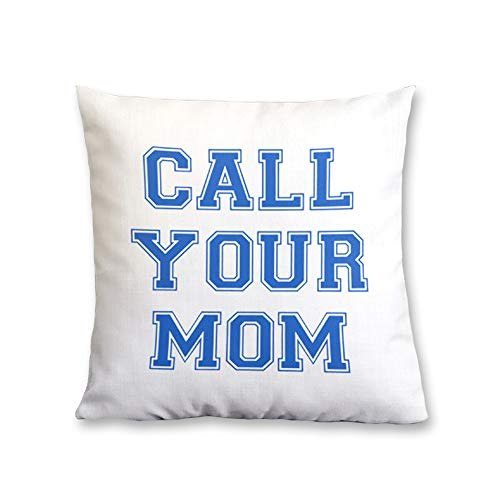 GENYOLO Call Your Mom Pillow. White and Blue Unisex College Dorm Grad Gift 16×16, White and Blue