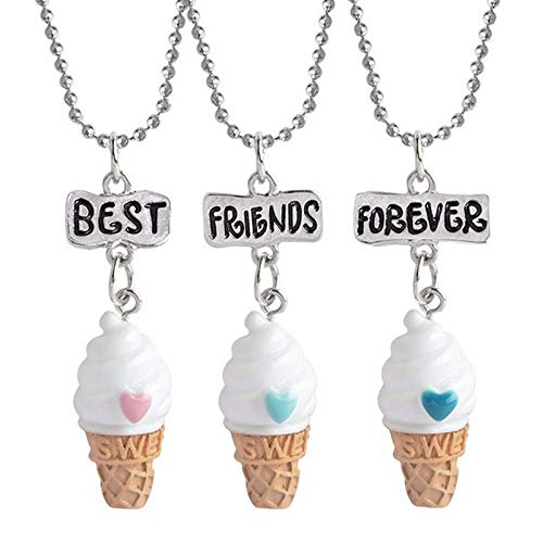 Mink Monk 3 Pcs/Set Ice Cream Pendant Necklace Resin Best Friend Forever Lovely Heart Friendship Necklaces ren Christmas Jewelry Gift