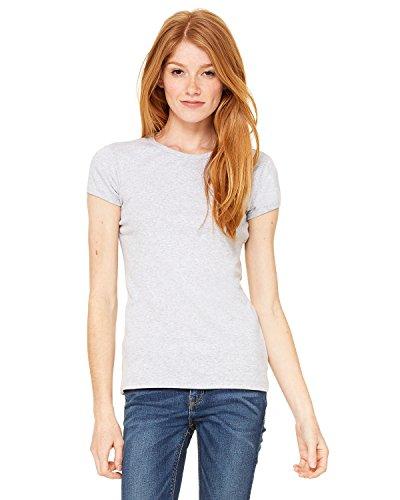 Bella + Canvas Womens Stretch Rib Short-Sleeve T-Shirt (1001)- ATHLETIC HEATHER,S