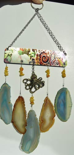 Aqua and Amber Agate geode slice slab wind chime windchime with golden Octopus sun catcher wind chime mobile art