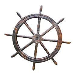 NBRTT Nautical Cove Wooden Ship Wheel, Steering Wall Decor Wood Crafted Premium Pirate's Boat Pirate, Ships Wheel for Home, Boats, and Walls Home Decoration