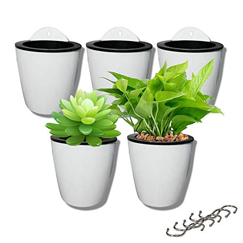5 Pack Lazy Flower pots Water Hanging Plants Pot/Self Watering Planter,Succulent Plants and Small Flower pots Plants Pots Indoor Out Wall Hang Flowerpot Window Boxes with 5 Hooks Silver ()