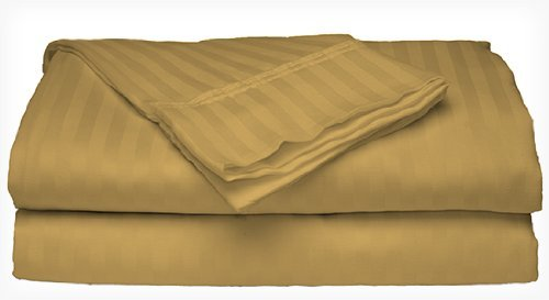 Gold Stripe Bed - Millenium 1600 Series 4 Piece Dobby Stripe Sheet Set. (4 Sizes, 9 Colors) (Queen, Gold)