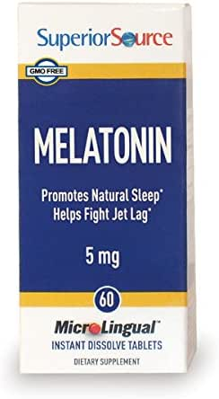 Superior Source Melatonin 5mg With Chamomile Instant Dissolve Tablets - Non Addictive Sleep Aid - Sublingual Melatonin - Natural Sleeping Pills for Adults 60 Count
