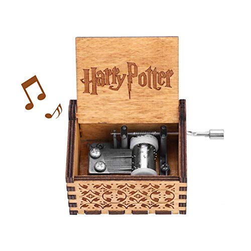 (Kafete Musical Box for Harry Potter Hedwig's Theme Hand Crank Music Box Vintage Classic Handmade Engraved Carved Wooden Gift Children's Day Birthday Present for Kids, Boys, Girls, Friends)
