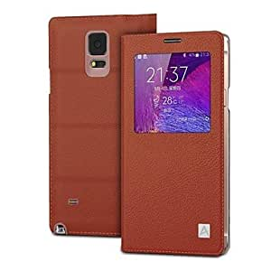 zxc Classic Genuine Leather Full Body Case with Flocking Protection for Samsung GALAXY Note4 (Assorted Colors) , Coffee