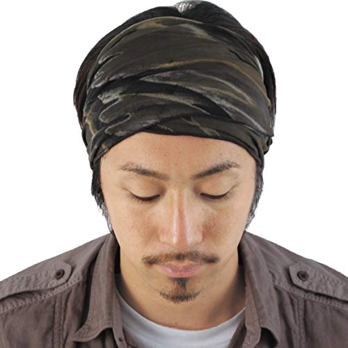 Casualbox Mens Elastic Headband Tie Dye Japanese Boho Bandana Hair Band Hippie Marble -