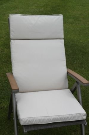 UK-Gardens Cream Beige Garden Furniture Large Seat And Back Folding Recliner Arm Chair Cushion - Cushion Only - Removable cover - Indoor or Outdoor Use