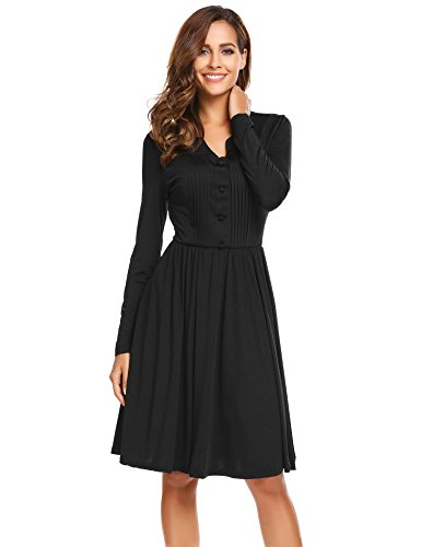Black A-line Dress (Finejo Women Casual V-Neck Long Sleeve Solid A-Line Pleated Dress,Black,Large)