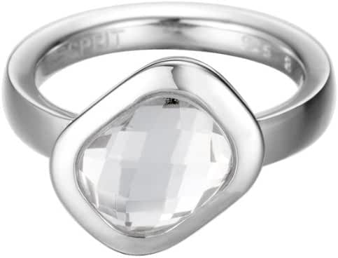 ESPRIT Women's Side Sway Ring Sterling Silver 6.1 G, Crystal And Glass White