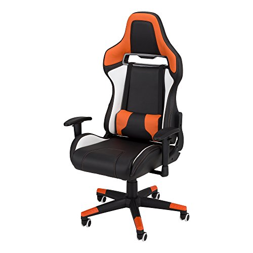 Commander - Racing-Style Gaming Chair by SkyLab Performance Seating F.C., Orange/White/Black School Outfitters