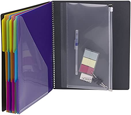 Smead 24 Pocket Poly Project Organizer, Letter Size, 1/3-Cut tab, Gray with Bright Colors (89206)