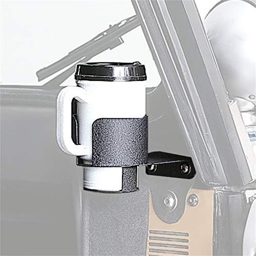 Rugged Ridge 13306.01 Soporte para taza de bebida montado en el parabrisas para Jeep CJ 1976-1995 y modelos Jeep Wrangler YJ 1987-1995, paquete de 1