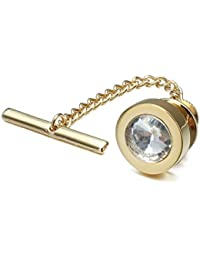 Mens Tie Tack with Chain Round Crystal Wedding Business Accessories