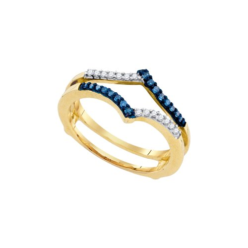 10K Yellow Gold Round Cut Blue