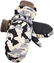 Camouflage Kids Ski Gloves Toddler Baby Outdoor Mittens Fleece Lined Boys Snow Glove 2-7 Years