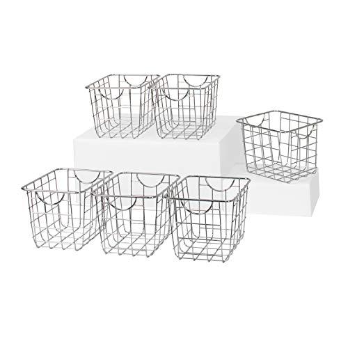 Spectrum Diversified Wire Pet, Toy, Office, Dorm Storage Bin Organizer, Basket, Mini, Pack of 6, Chrome