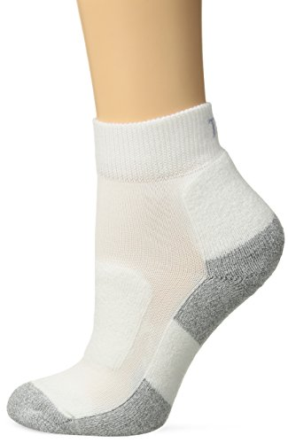Thorlos Women's LWMXM Light Walking Padded Ankle Sock, White, Medium - Padded Womens Socks