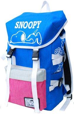 スヌーピー SNOOPY ねそべり ナイロン リュックサック B01KUK5E2I ヘザー/ブルー×ピンク ヘザー/ブルー×ピンク