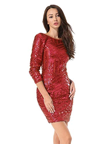 Hiistandd Women Sequin Glitter Long Sleeve Round Neck Backless Bodycon Stretchy Party Dress Wine -