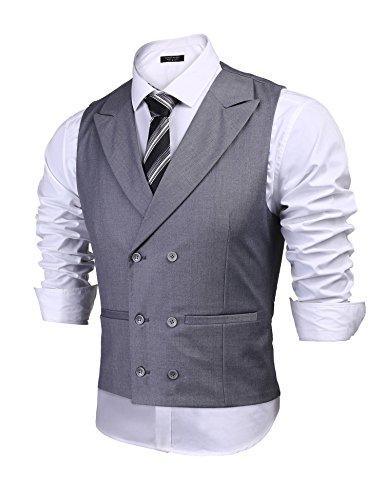 COOFANDY Men's Double Breasted Suit Vest,Slim Fit Business Formal Dress Waistcoat Grey