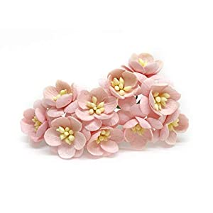 """1"""" Light Pink Cherry Blossoms, Mulberry Paper Flowers with Wire Stems, Mauve Paper Flowers, Miniature Flowers, DIY Wedding, Wedding Decor, Artificial Flowers, 25 Pieces 1"""