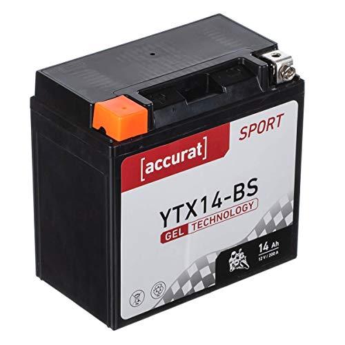 Accurat motorfietsaccu YTX14-BS 14Ah 200A 12V gel-technologie startaccu in OEM-kwaliteit cyclusvast veilig opbergbaar…