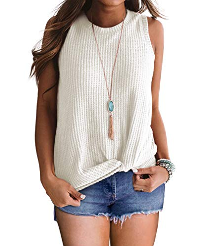 THANTH Womens Shirts High Neck Tank Tops Casual Summer Sleeveless Shirts Twist Knot Waffle Knit Tunic Tops Blouses White M
