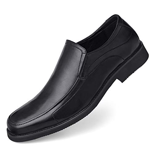 GM GOLAIMAN Men's Dress Shoes Slip On Formal Square-Toe Loafer Black 10
