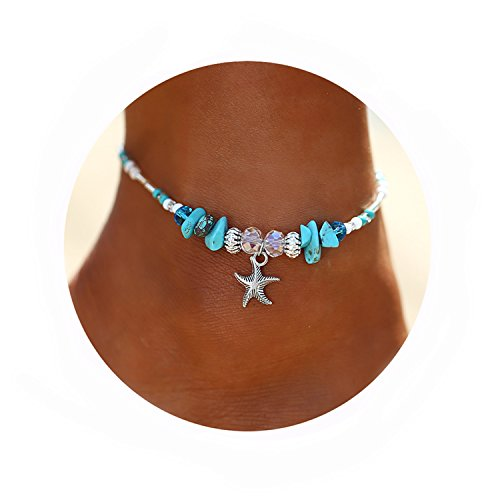 17mile Blue Starfish Charm and Turquoise Pearl Bead Link Anklet Adjustable Gifts for Women and (Ocean Beaded Bracelets)
