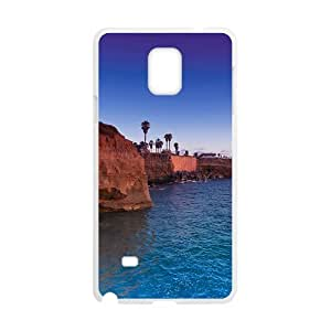 Blue Sea And Rock Mountains White Phone Case for Samsung Galaxy Note4