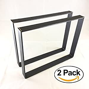 """2 Pack - (2"""" Wide - 1/4"""" Thick Metal) (Size Range: 8-25""""L x 8-25""""H) Square Rustic Reclaimed Coffee Table bench Legs Steel Rectangle Brackets"""