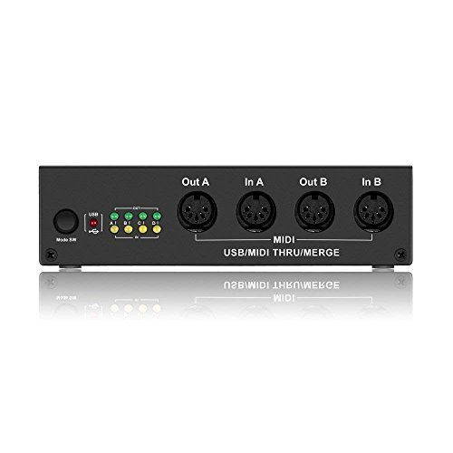 DigitalLife MIDI Box 4 x 4 USB MIDI Interface - USB MIDI Controller Splitter Synthesizer Music Box with Merge Function (MIDISport,64 MIDI Channel,MIDI Thru Box) by DigitalLife