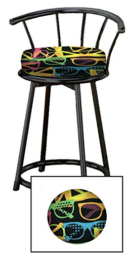 Custom Arcade Gaming Stool with an Extra Thick Cushion in a Black Metal Finish with a Swivel Seat and Backrest Featuring a Novelty Themed Seat Cushion! (Neon - Custom Sunglasses Neon
