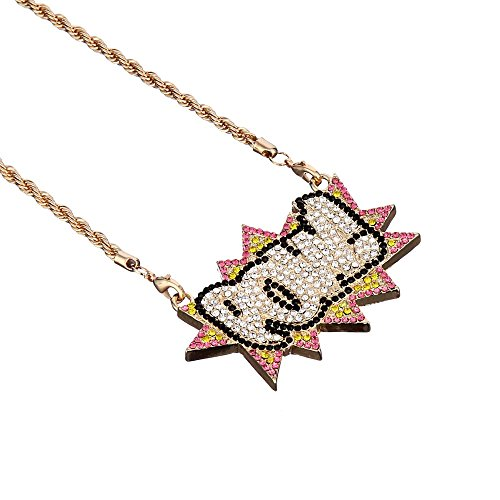 [Hip Hop Rhinestone Letters POW Necklace Rope Chain Punk Style Costume Jewelry (Gold Plated)] (Punk Rocker Costumes For Kids)